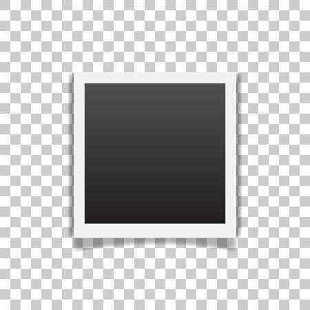 Cadre photo vecteur réaliste rétro placé sur fond transparent. Conception de modèle de photo