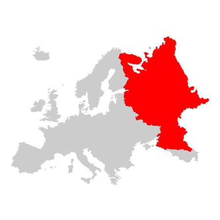 Russia on map of europe Standard-Bild - 143171948