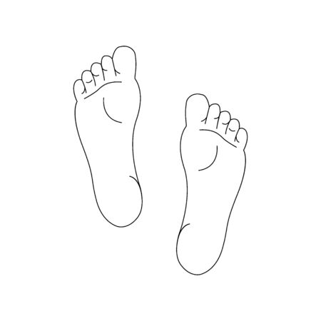 Line drawing of the left and right foot soles.