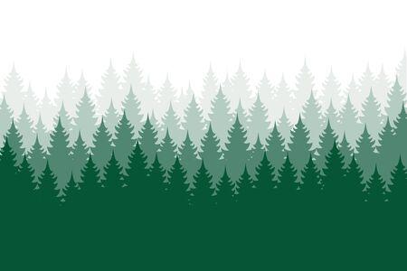 Forest background, nature, landscape. Evergreen coniferous trees. Pine, spruce, christmas tree. Silhouette vector Vektorgrafik