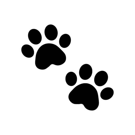 dog paw vector footprint icon french bulldog cat puppy kitten cartoon symbol sign illustration doodle - Vector Illustration