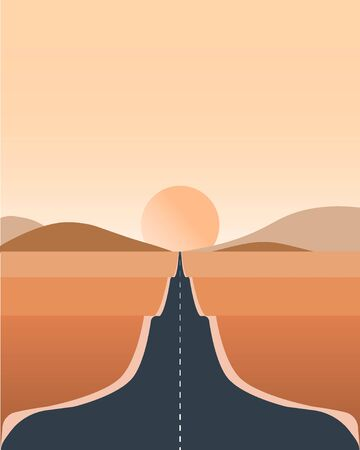 A road leading to the mountains across a dry desert. - Vector
