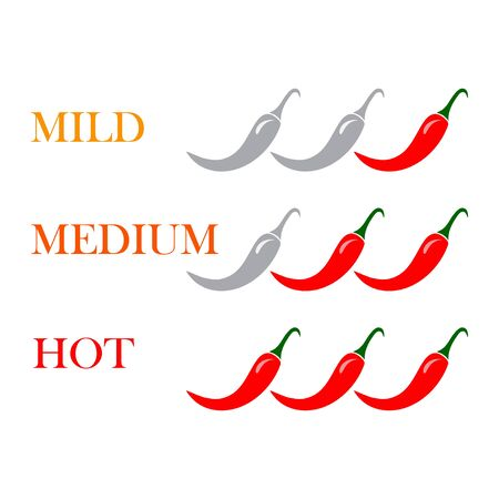 Spicy chili hot pepper level labels. Vector spicy food green mild, medium and red extra hot, jalapeno pepper fire flame, sauce package icons