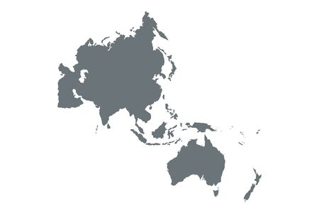 Vector Map of Asia Pacific on white back.