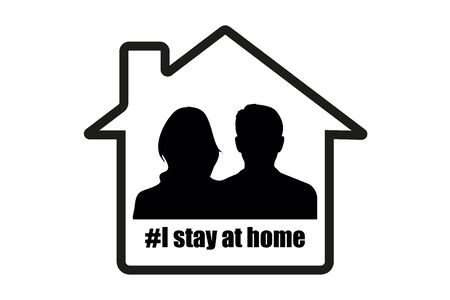 I stay at home awareness social media campaign and coronavirus prevention: family smiling and staying together. Man and woman silhouette in home