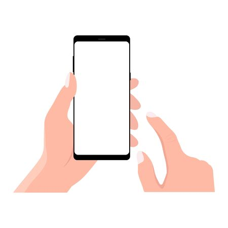Hand holding black smartphone, touching blank white screen. Using mobile smart phone, flat design concept. Eps 10 vector illustration