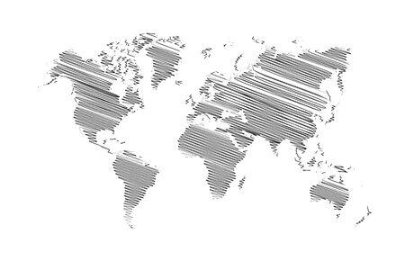 World map Detail Vector Line sketch Up Illustrator, EPS 10. Illustration