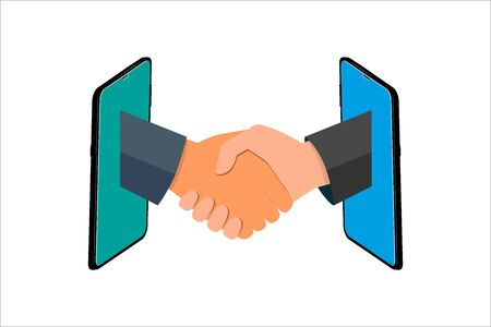 Business handshake vector illustration flat style. Online Communication, two business man handshake on mobile, Businesspersons shaking hands through display of a phone. Illustration