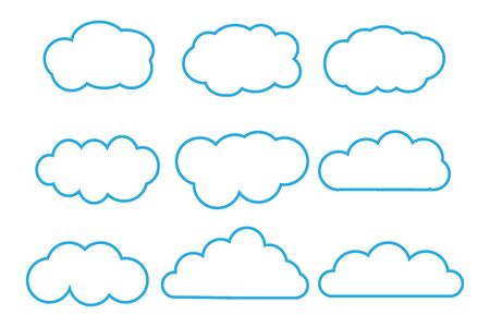 Outline cartoon flat style clouds icon collection. Weather forecast logo symbol. Vector illustration image. Isolated on white background. Standard-Bild - 149008997