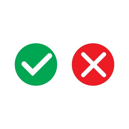 Yes and no mark, vector icon, web design element
