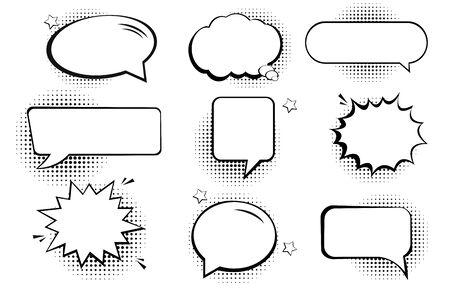 Retro empty comic bubbles and elements set with black halftone shadows Illustration