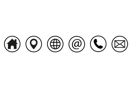 Contact us icons. Web icon set. Vector illustration.