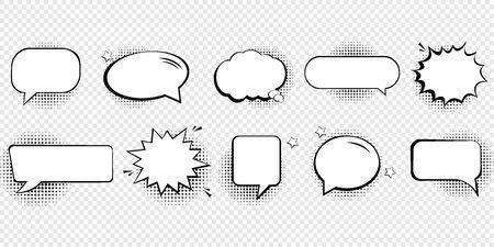 Retro empty comic speech bubbles set with black halftone shadows. Illustration