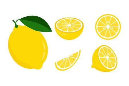 Icon set lemon, vector illustration on white background. the whole fruit and cut into pieces. citrus. Illustration