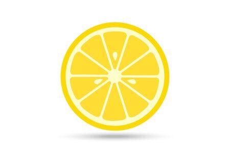 Lemon slice vector icon illustration on white background. Fresh sour vector lemon icon.