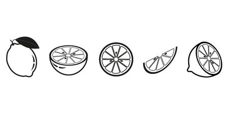 Lemon icons set. Simple design. Line vector. Isolate on white background.