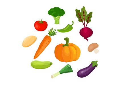 Vector vegetables icons set in cartoon style.