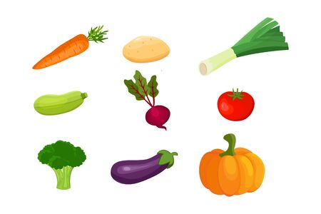 Vector vegetables icons set in cartoon style. Standard-Bild - 148949953
