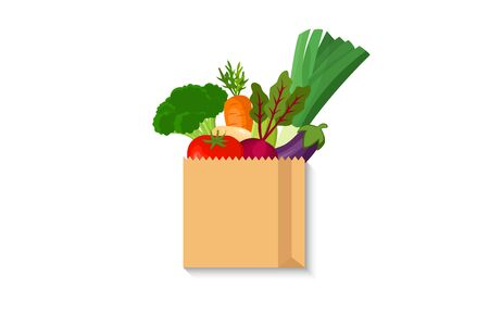 paper bag with food. Shopping bag with Vegetable Standard-Bild - 148944811