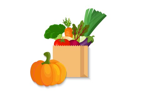 paper bag with food. Shopping bag with Vegetable Illustration