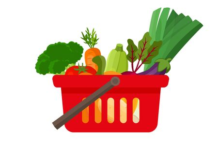 Shopping basket full of vegetables - can illustrate healthy lifestyle, vegan or vegetarian diet, raw food, healthy cooking.