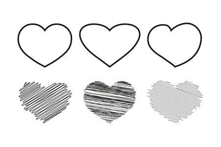 Heart icon in 6 types. Heart illustration.