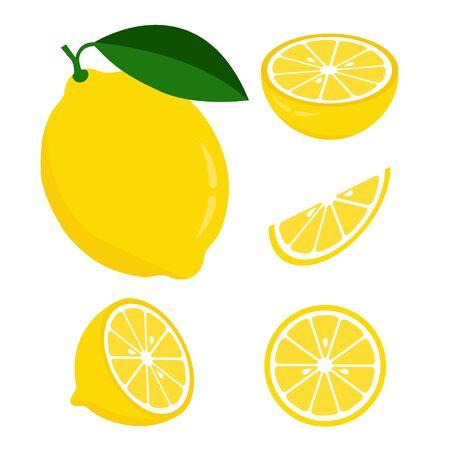 Fresh lemon fruits, collection of vector illustrations Ilustracje wektorowe