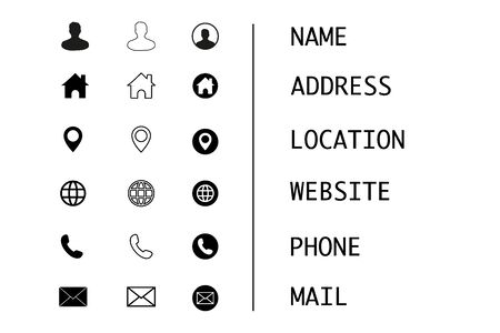 Business card, finance and communication icons. Contact information symbols. Vecteurs