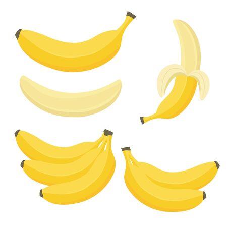 Cartoon bananas. Peel banana, yellow fruit and bunch of bananas. Tropical fruits, banana snack or vegetarian nutrition. Isolated vector illustration icons set