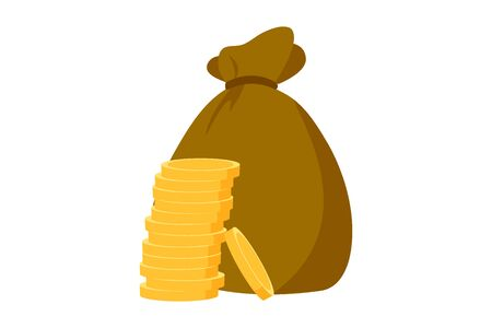 Money bag vector icon, moneybag flat simple cartoon illustration with black drawstring and dollar sign isolated on white background