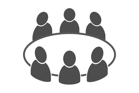 Team business meeting with teamwork and collaboration flat vector icon for apps and websites Standard-Bild - 148907582