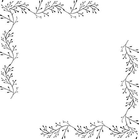 Decorative frame. Floral swirls and flowers. Illustration