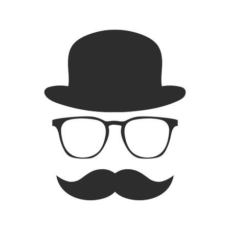 Vintage silhouette of bowler, mustaches, glasses. Vector illustration of gentleman or hipster.