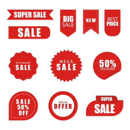 Set of sale tags and labels, template shopping labels. Blank, discount and price tags on paper. Special offer. Vintage. Vettoriali