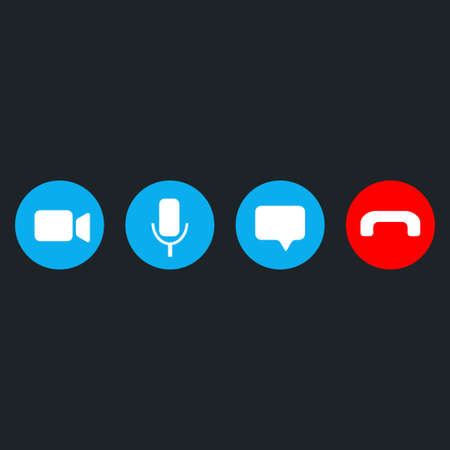 Video call icons set on blue back