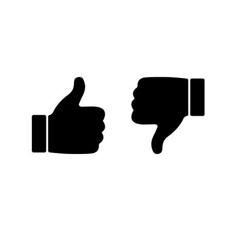 Like and dislike icons set. Thumbs up and thumbs down. Vector illustration. Illustration