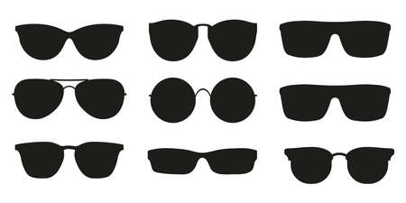 Many types of glasses. Fashion collection set glasses isolated. Vector illustration. Glasses icons frames silhouettes.