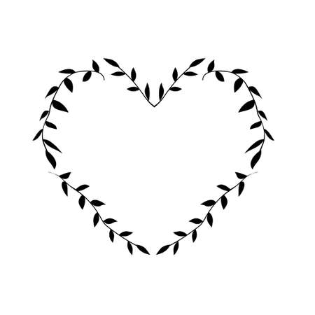 Hand drawn vector illustration. Vintage decorative wreath in shape heart.
