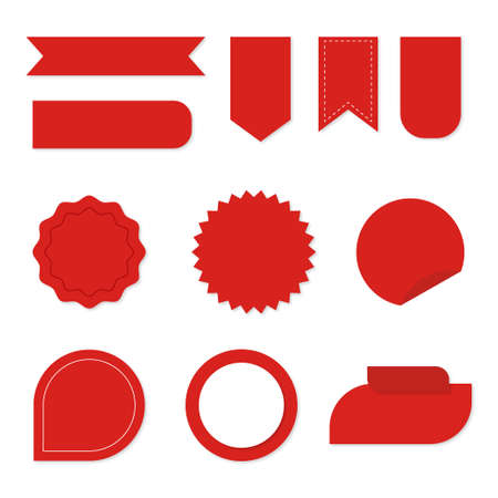 Set of Ribbons. Ribbon elements. Starburst label. Vintage. Modern simple ribbons collection.