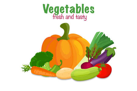 Banner with vector vegetables. Concept healthy food. ... Vector illustration