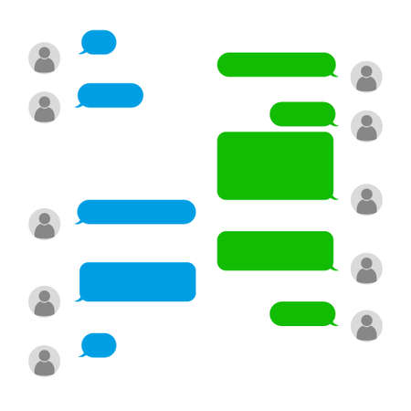 Short message service bubbles with place for text chat text boxes.