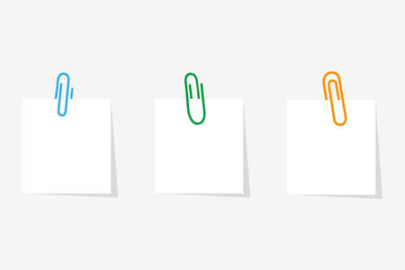 Paperclip with blank white notepaper. Vector illustration