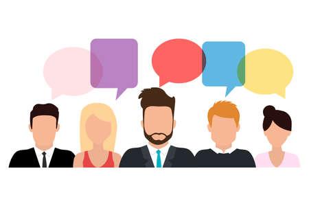businessmen discuss social network, news, social networks, chat, dialogue speech bubbles