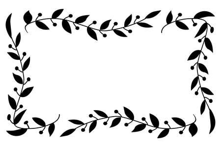 Herbal black minimalistic vector frame. ... Vector illustration Illustration