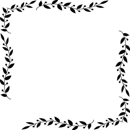 Decorative frame. Floral swirls and flowers.