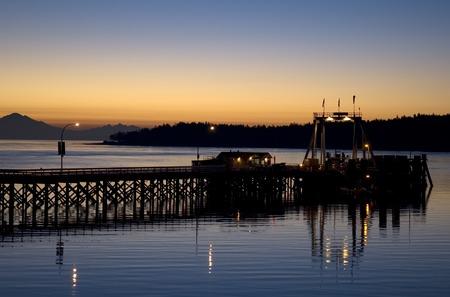 Dock at sunrise on Galiano Island in British Columbia.