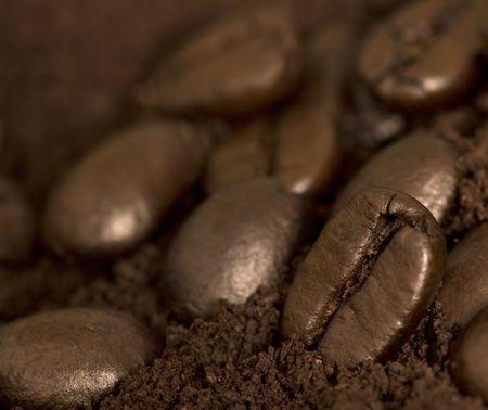 Macro of coffee beans Stock Photo