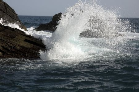 Crashing waves of the mediterrean sea near Cinque Terre.