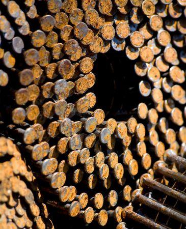 oxidado: Rusty Nails Backgound  Foto de archivo