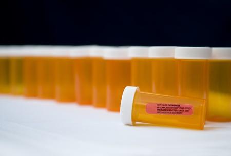Prescription pill bottles background